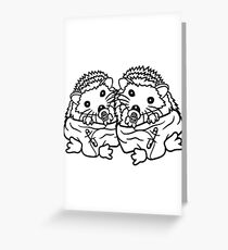 siblings brothers sisters twins 2 children babies diaper pacifier sitting round child baby offspring sweet little cute hedgehog Greeting Card