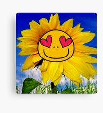 Fun,funny,Sun flower,sunny,kid,kids,smiley,smile,deep blue,yellow,red,green Canvas Print