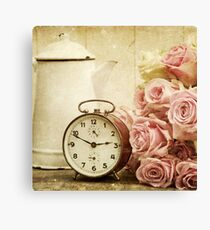 vintage,shabby chic,retro clock,pitcher,grunge,girly,pink,roses Canvas Print