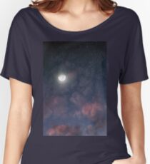 Glowing Moon on the night sky through pink clouds Women's Relaxed Fit T-Shirt