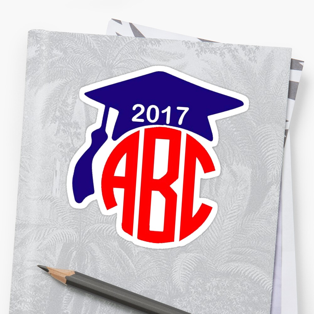 Class Of 2017 Graduation Cap Monogram CUSTOMIZABLE