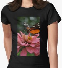 Butterfly on Zinnia Macro Womens Fitted T-Shirt