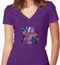 Dragonfly In Orange and Blue Women's Fitted V-Neck T-Shirt