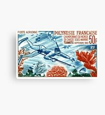 1965 French Polynesia Spearfishing Postage Stamp Canvas Print