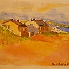 Cottages, Inis Mor, Isle of Aran. Watercolour.2010Ⓒ 32x24cm framed.  by Elizabeth Moore Golding