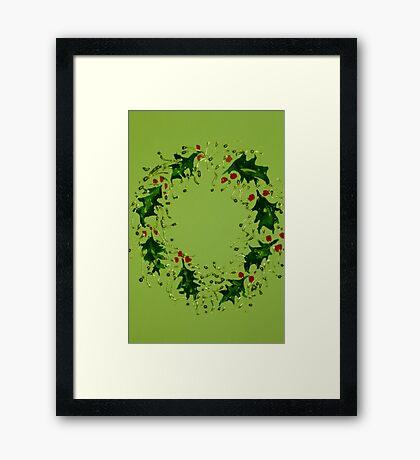 Green Xmas wreath Framed Print