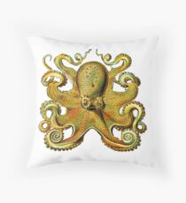 Deepsea Octopus Antique Print Throw Pillow
