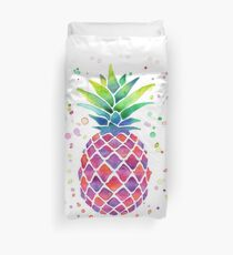 Colourful Watercolour Pineapple! Duvet Cover