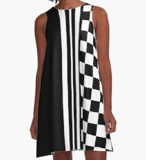 Stylish black and white ska inspired A-Line Dress