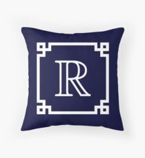 Navy Blue White Monogram R In A White Greek Key Frame Throw Pillow