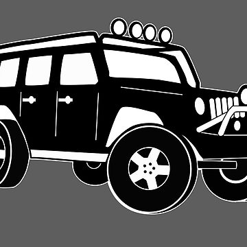 Jeep Wrangler Sticker / Decal - Front 3/4 Touring Design - Black by TheStickerLab