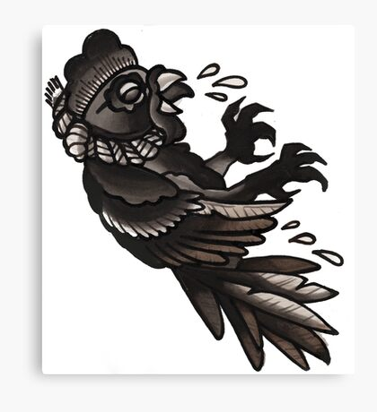 hanging cock, old school tattoo Canvas Print