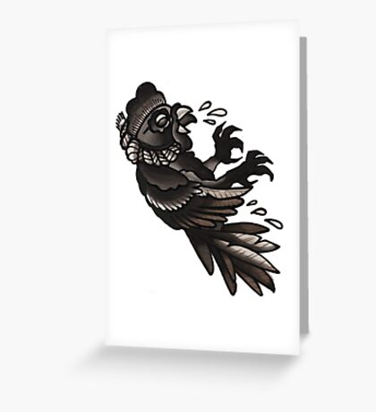 hanging cock, old school tattoo Greeting Card