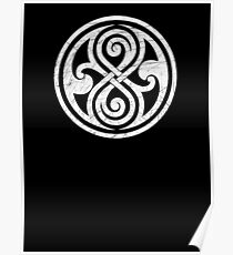Seal of Rassilon - Classic Doctor Who - White on Black (Distressed) Poster