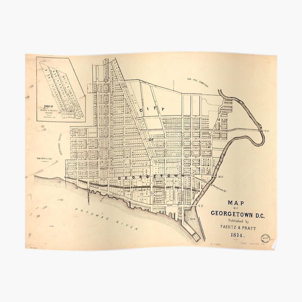 Vintage Map of Georgetown (Washington D.C.) 1876 Poster