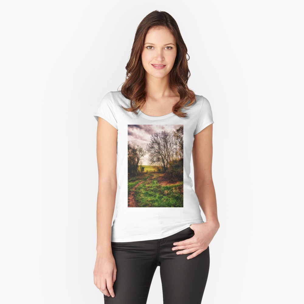 Muddy Country Path HDR Fitted Scoop T-Shirt