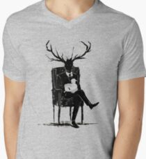 Hannibal Lecter NBC Stag Antlers Lamb Men's V-Neck T-Shirt