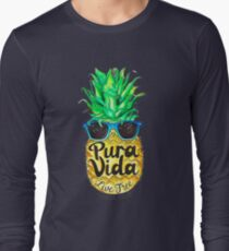 Pineapple in Sunglasses Costa Rica Summer Pure Life Long Sleeve T-Shirt