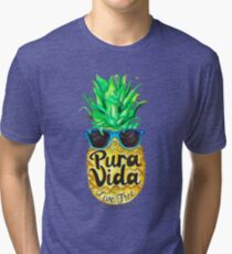 Pineapple in Sunglasses Costa Rica Summer Pure Life Tri-blend T-Shirt