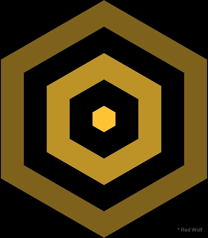 Geometric Pattern: Hexagon Hive: Dark Positive: Yellow by * Red Wolf