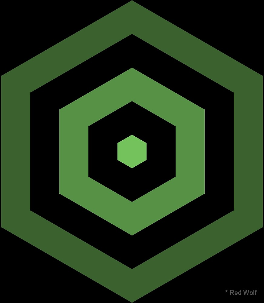 Geometric Pattern: Hexagon Hive: Dark Positive: Green by * Red Wolf