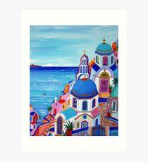 Lámina artística Colorful Oia Santorini