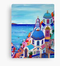 Colorful Oia Santorini Canvas Print