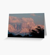 Pretty in Pink: Sunset on the Dolomites Greeting Card