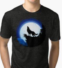 Wolf Howling at Blue Moon Tri-blend T-Shirt