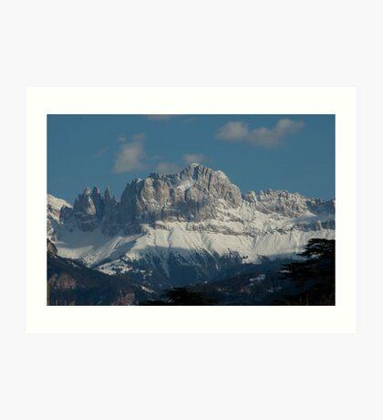 Snow on the Dolomites, Bolzano/Bozen, Italy Art Print
