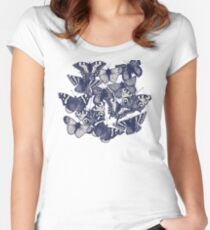 butterfly strawberry pink Women's Fitted Scoop T-Shirt