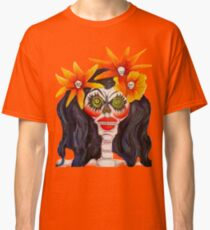 Calavera with Orange Flowers in Black Hair Classic T-Shirt