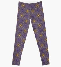Asymmetrical Purple Yellow Repeating Pattern Leggings