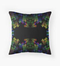 Tetris-like Abstract Black Colorful Rainbow Geometric Pattern Throw Pillow