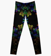 Tetris-like Abstract Black Colorful Rainbow Geometric Pattern Leggings