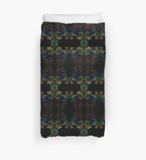Tetris-like Abstract Black Colorful Rainbow Geometric Pattern Duvet Cover
