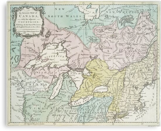 Vintage Map of Great Lakes & Canada (1761) by BravuraMedia