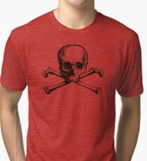 Skull and Crossbones | Black and White Tri-blend T-Shirt