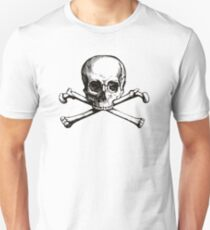 Skull and Crossbones | Black and White Unisex T-Shirt