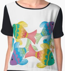 Colorful Fish on a White Background Women's Chiffon Top