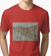 Vintage Map of Sicily Italy (1911) Tri-blend T-Shirt