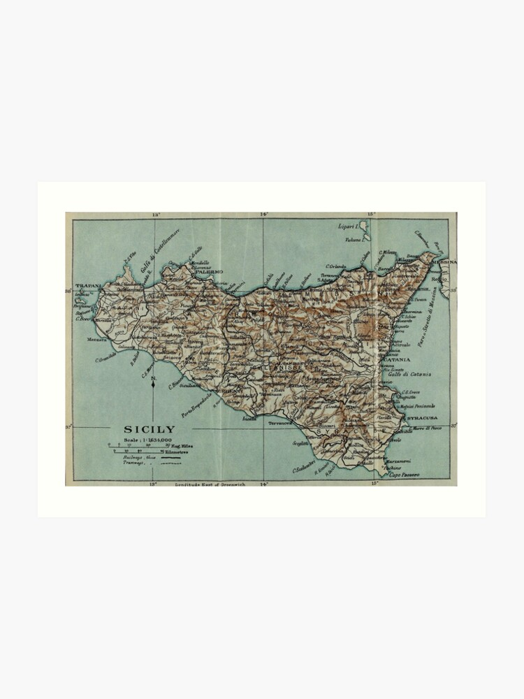 image regarding Printable Map of Sicily called Basic Map of Sicily Italy (1911) Artwork Print