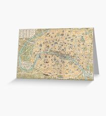 Vintage Map of Paris France (1890) Greeting Card