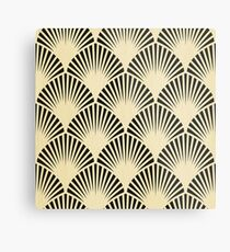 Art deco,black,beige,rustic,vintage,fan,pattern,elegant,chic Metal Print