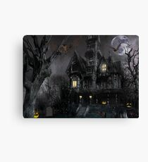 Dark Haloween Haunted House Canvas Print
