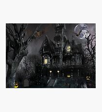Dark Haloween Haunted House Photographic Print