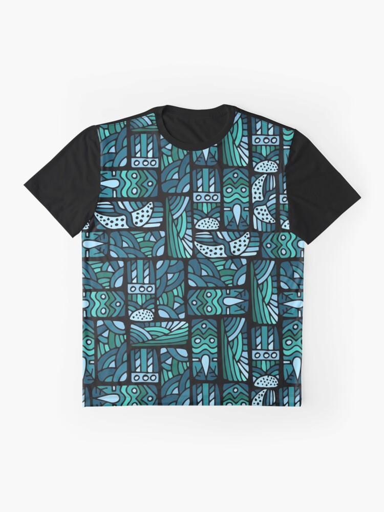 Alternative Ansicht von Ethnisches blaues Muster Grafik T-Shirt