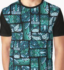 Ethnic blue pattern Graphic T-Shirt