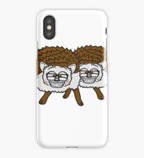2 freunde team nerd geek hornbrille pickel freak spange schlau intelligent grinsen lustig comic cartoon süßer kleiner niedlicher igel  iPhone Case/Skin