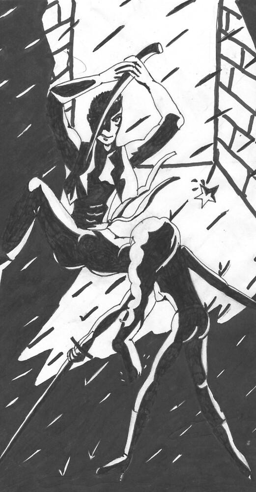 Ninja Face Off (in deep dark alley...) by Kyleacharisse